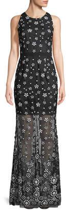 Aidan Mattox Illusion Sequin Sleeveless Gown