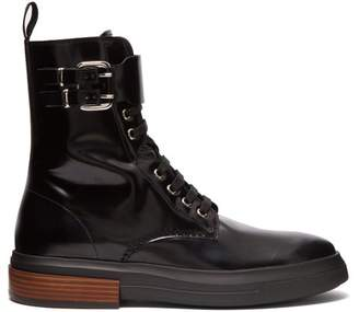 Tod's Lace Up Leather Ankle Boots - Womens - Black