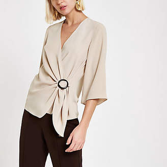 River Island Beige wrap front horn ring blouse