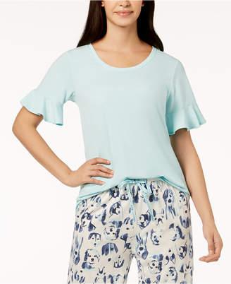 Hue Solid Flounce-Sleeve Pajama Top