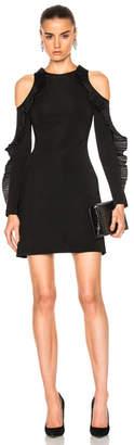 David Koma Ruffled Long Sleeve Open Shoulder Dress