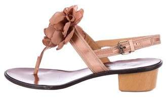 Lanvin Floral Satin Thong Sandals