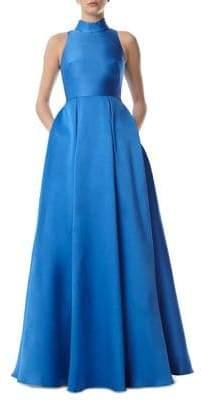 ML Monique Lhuillier Collared Ball Gown