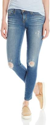 Big Star Women's Alex Mid Rise Skinny Ankle Jean with Destructions in