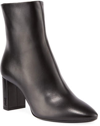 Saint Laurent Lou Pin Zip Leather Block-Heel Booties