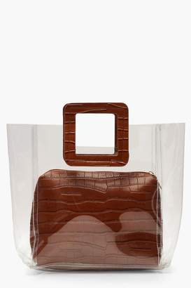 boohoo Croc Insert And Handle Clear Daybag