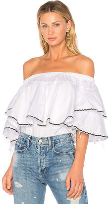 Endless Rose Ruffle Trim Off Shoulder Top in White $94 thestylecure.com