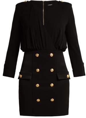 Balmain Stretch Knit V Neck Midi Dress - Womens - Black