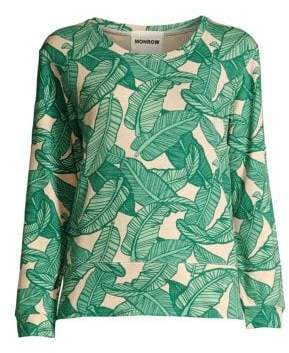 Monrow Women's Banana Leaf Printed Crewneck Sweater - Banana Leaf - Size XS