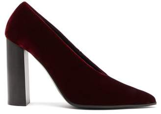 Stella McCartney Pointed Velour Pumps - Womens - Burgundy