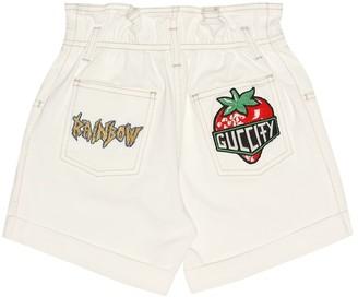 Gucci Kids Appliqued denim shorts