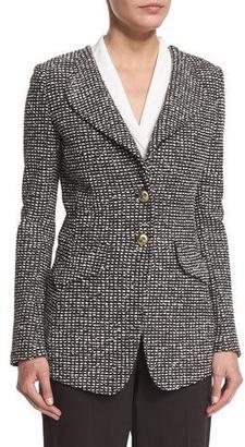 St. John Collection Moorisha Knit Jacket w/ Faux Pockets, Mahogany/Multi $1,695 thestylecure.com