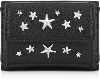 Jimmy Choo NEMO Black Deerskin Leather Small Wallet with Crystal Stars