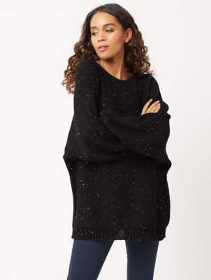 Black Sequin Embellished Batwing Knitted Jumper