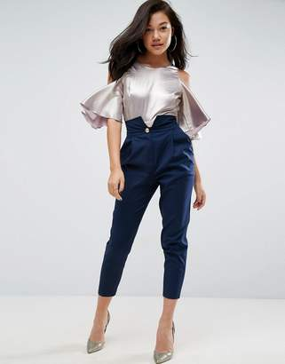 ASOS Tailored Pant with Extreme High Waist & Military Button $56 thestylecure.com
