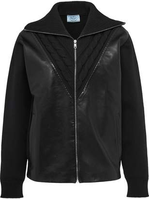Prada technical knit front leather cardigan
