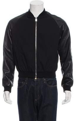 Saint Laurent 2013 Leather-Trimmed Bomber Jacket