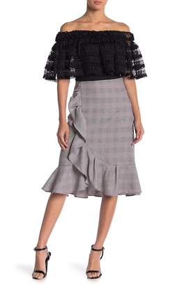 Gracia Ruffled Plaid Skirt