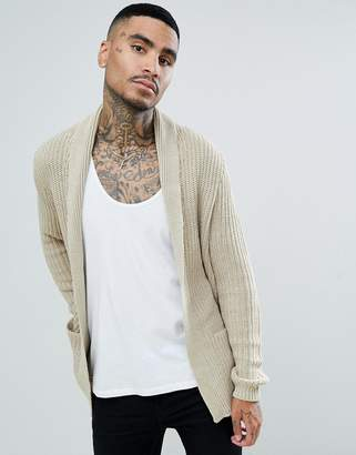 Asos Ultimate Knitted Cardigan In Oatmeal
