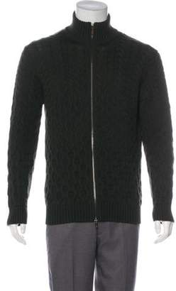 Etro Cable Knit Wool Zip-Up Sweater green Cable Knit Wool Zip-Up Sweater