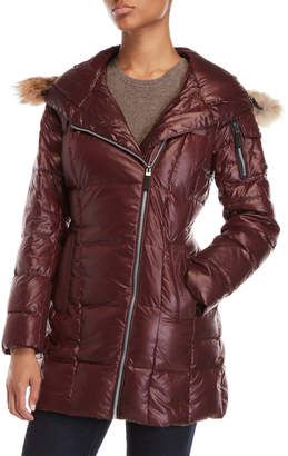 Andrew Marc Lexi Real Fur Trim Quilted Coat