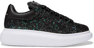 Alexander McQueen Glittered Leather Exaggerated-sole Sneakers - Black