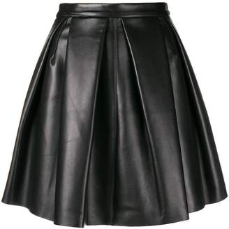 David Koma pleated full leather skirt