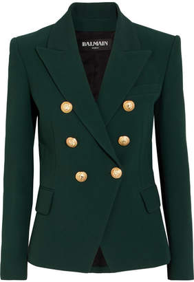 Balmain - Double-breasted Crepe Blazer - Green $2,445 thestylecure.com