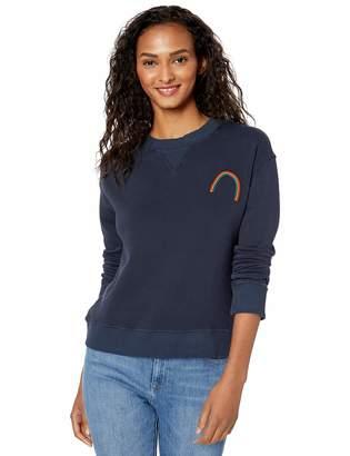 Monrow Women's Slouchy Sweatshirt w/Rainbow Embroidery