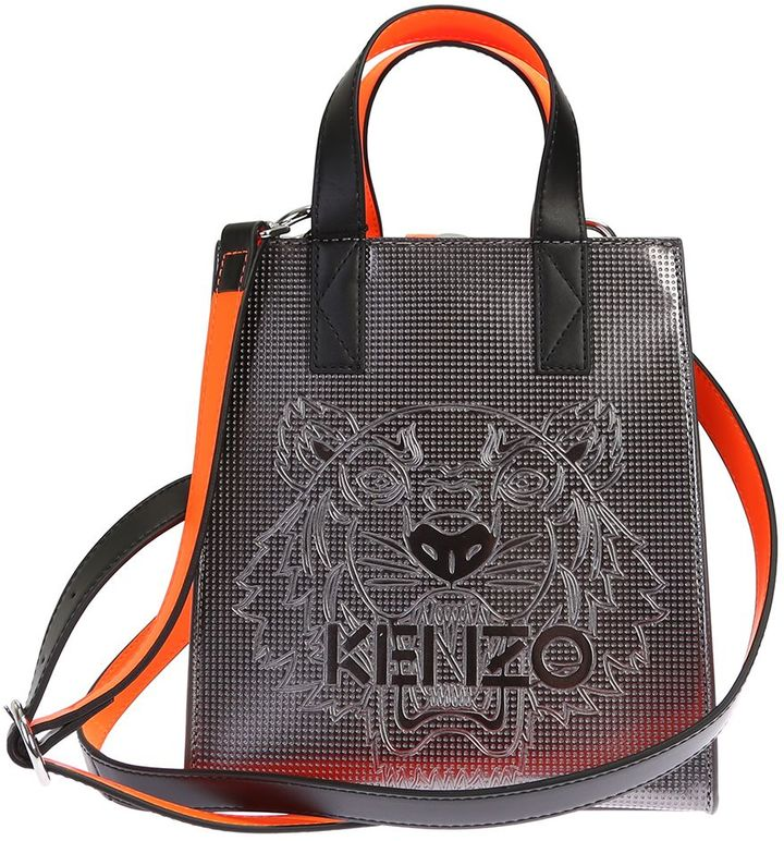 KenzoSilver Leather Tiger Mini Tote Bag