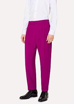 Paul Smith Men's Tapered-Fit Purple Pleated Wool Trousers