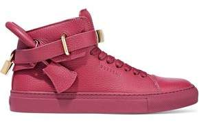 Buscemi Embellished Pebbled-Leather High-Top Sneakers