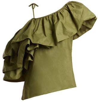 Marques Almeida Marques'almeida - One Shoulder Taffeta Top - Womens - Khaki