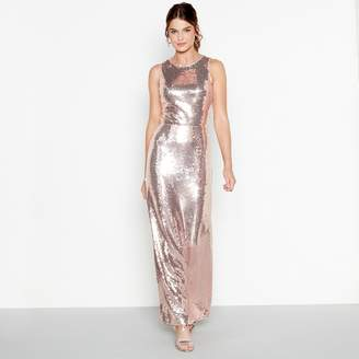Debut Light Pink Sequin 'Clara' Round Neck Maxi Dress