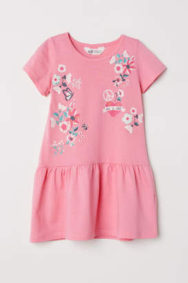 H&M Short-sleeved Jersey Dress - Pink