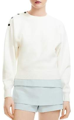 Maje Marlina Cropped Shoulder-Snap Sweater