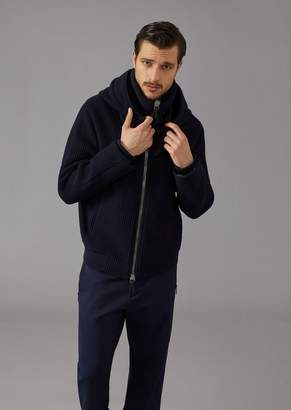 Giorgio Armani Ribbed Double Jersey Blouson With Hood