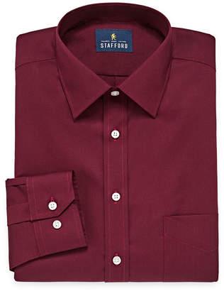 STAFFORD Stafford Travel Easy-Care Broadcloth Mens Spread Collar Long Sleeve Wrinkle Free Stretch Dress Shirt