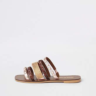 River Island Brown leather multi strap embellished sandal