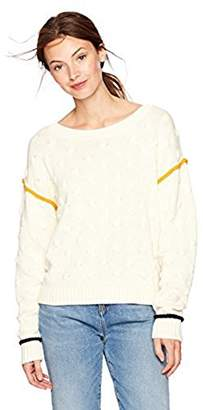 Off-White Cable Stitch Women's Intarsia Dot Textured Sweater