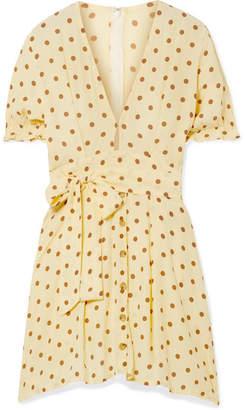 Faithfull The Brand Vanelli Tie-detailed Polka-dot Crepe Mini Dress - Pastel yellow