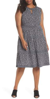 MICHAEL Michael Kors Leopard Border Tier Dress