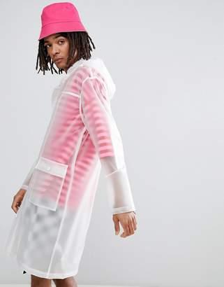 Asos DESIGN festival hooded transparent rain coat in white