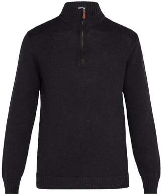 INIS MEÁIN High-neck half-zip alpaca wool-blend sweater