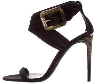 Burberry Nubuck Ankle Strap Sandals