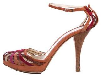 Fendi Suede Ankle-Strap Sandals