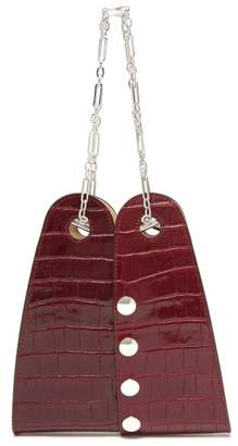 Lemaire Mini Double Folded Crocodile Effect Leather Bag - Womens - Burgundy