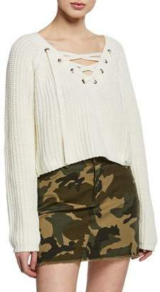 KENDALL + KYLIE Cropped Lace-Up Cotton Sweater