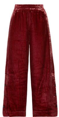By Malene Birger Clamirana Striped Velvet Wide-leg Pants - Claret