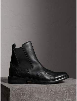 Burberry Brogue Detail Polished Leather Chelsea Boots , Size: 40, Black